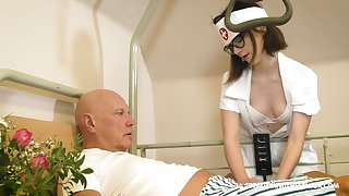 Svelte nerdy nurse named Sara Bell is boost to give older baffle a blowjob