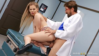 Sweet blonde gets laid with will not hear of hot physician