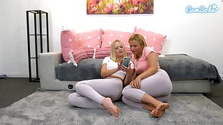 Peaches babes tear spandex to fingerfuck themselves and  spew over leggings for webcam audeince