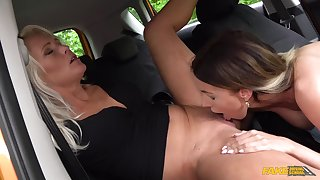 Sweet amateur lesbians in mutual oral sexual intercourse scenes in the car