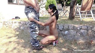 Skinny amateur Lady Dee spreads her legs for an older neighbor