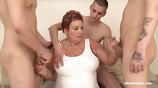 Wealthy venerable woman pays for gangbang with three young guys