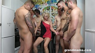 Retired whore Marta goes reprobate with a handful of hot and young dudes