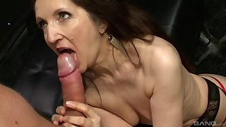 Hardcore screwing between a younger lover and mature Gilly Sampson
