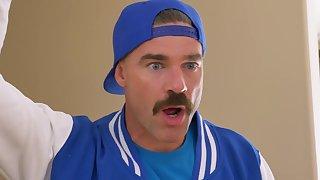 Man with weird moustache fucks busty amateur MILF in really insane XXX