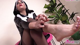 Low-spirited Nurse And Hot Nun Barefoot And In Stockings Feet Deception
