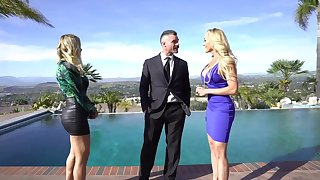 Man with insane dick forth his pants, inexact threesome with two premium ladies