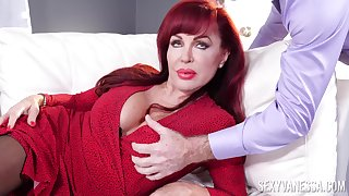 Rough enactment with a busty grown up thirsty be useful to cock in both holes