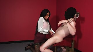 Masked man plays obedient for his clothed mistress
