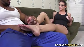 Giggling slutty nerdy nympho Brooklyn Chase fingers herself as she gives footjob
