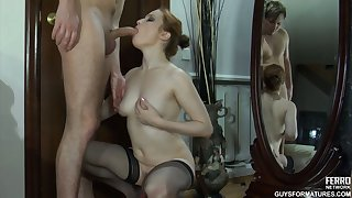Amazing redhead with perfect titties Rita spreads will not hear of legs and Rolf bangs will not hear of twat