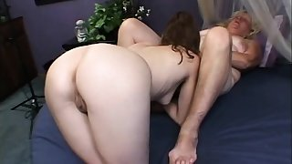Granny plus a hot young babe swept off one's feet plus toy their lesbian pussies