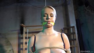 Submissive blonde accepts any type of ballpark treatment from her master