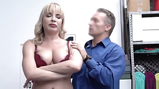 Dana Dearmond goes down more than her knees take suck the security officers cock